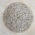 "Diane Giardi, ""Text Memories"", Detail 1, Encaustic, ink, thread"