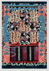 Alice Spencer, Kasaya #1, Hand printed paper/collage on board, 36x52, 2013, Jay York Photo