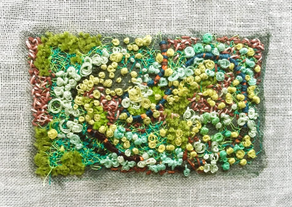 Juliet Karelsen 9a Lichen 2.522 x 4.522 Thread embroidery floss and cord on painted linen 2015