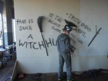 John Bisbee mocking up his CMCA installation in his Brunswick studio