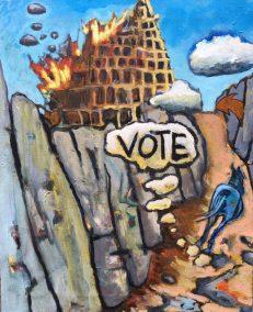 vote Leonard Margaret VOTE acrylic canvas copy