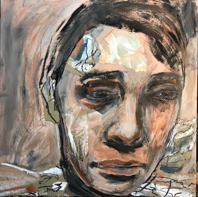 "Kathleen Noyes, ""Beyond"", acrylic and collage, 12""x12"", 2019"