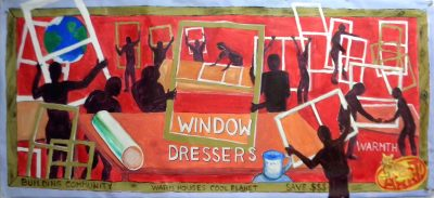 Banner for WINDOW DRESSERS, organizing community building events to create window inserts.