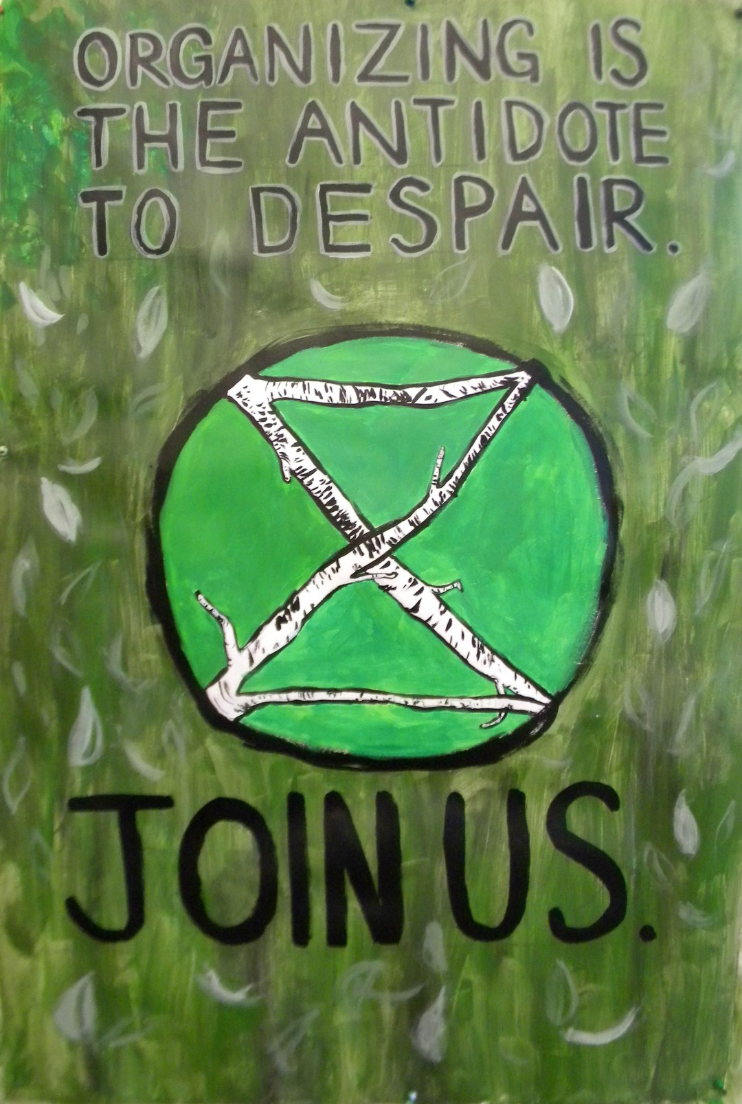 """""""Organizing Is The Antidote To Despair"""", Extinction Rebellion Ad Box painting"""