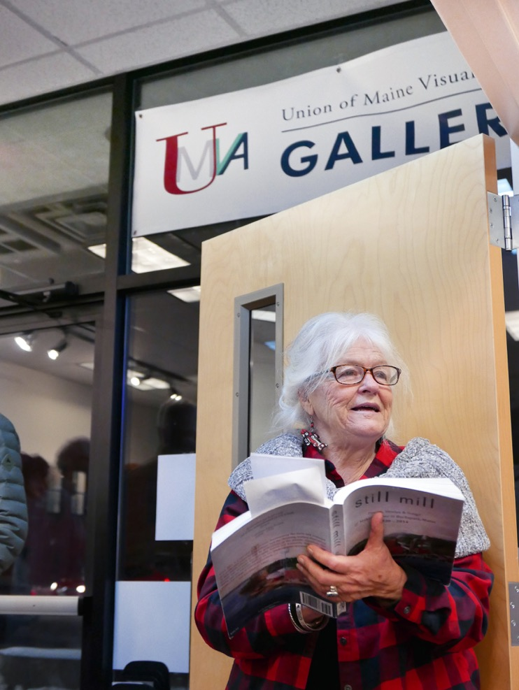"""UMVA Gallery opening """"The Way Life Is – Maine Working Families and Communities"""", Pat Ranzoni reading from """"Still Mill; photo by David Wade"""