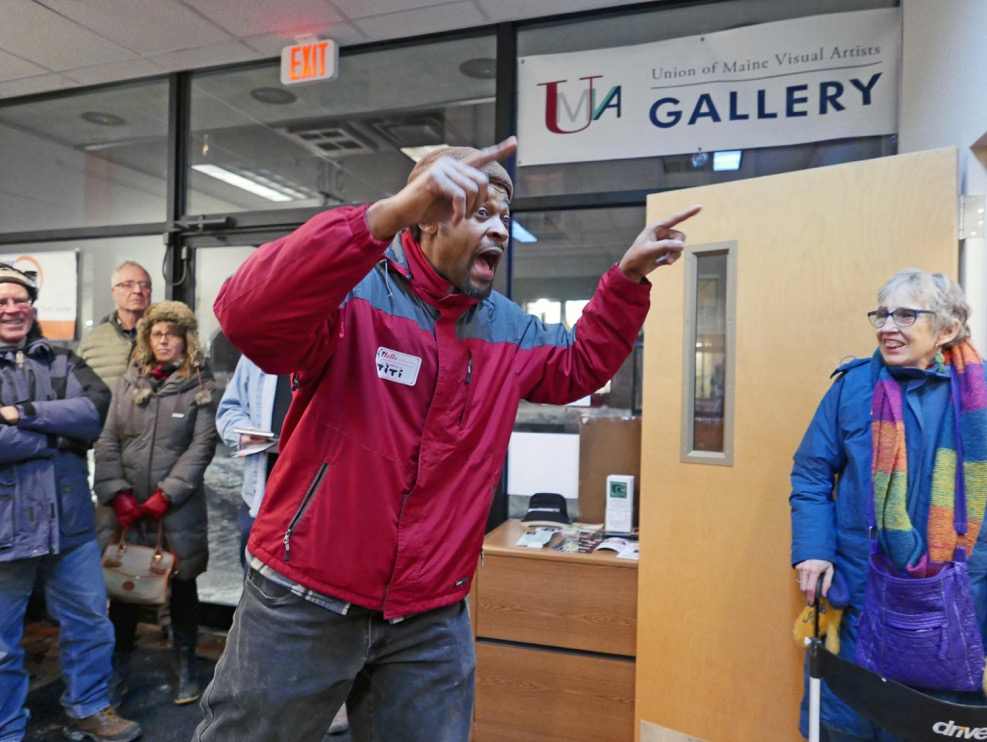 """UMVA Gallery opening """"The Way Life Is – Maine Working Families and Communities"""", Titi de Baccarat, The Bull; photo by David Wade"""