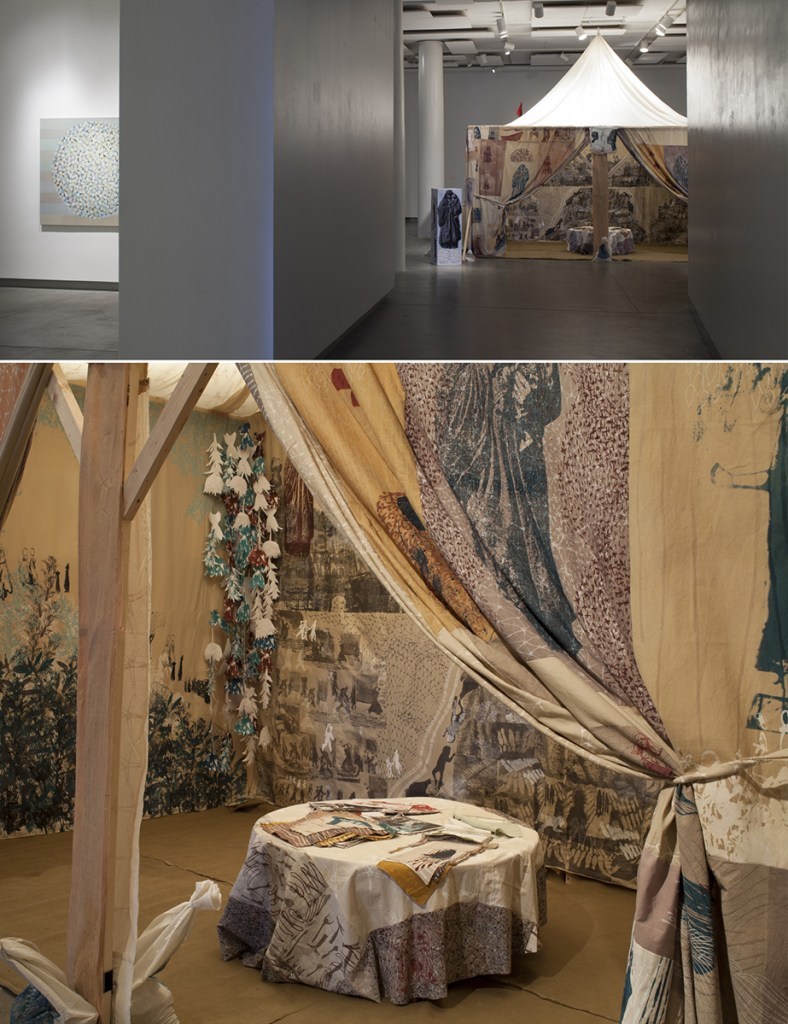 Elizabeth Jabar and Colleen Kinsella, Future Mothers Tent installation view and inside detail