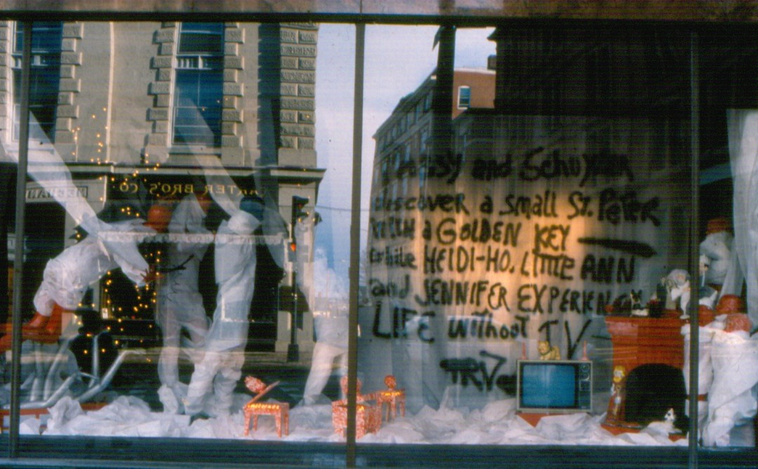 F.R.Vance, Home Homeless, storefront installation, Porteous window, Congress St. Portland, Dec.1989