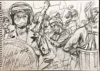 Steve Mumford July 18, Portland Protests, drawing on paper, 2020