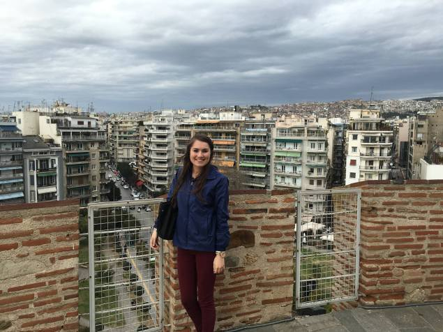 Writer, Chloe Dyer, atop the White Tower in Thessaloniki, Greece. Photo courtesy Chloe Dyer.
