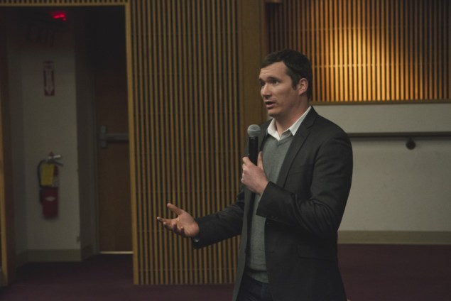 """Survivor of the 2007 Virginia Tech Shooting, Colin Goddard, addresses students at the viewing of """"Living For 32"""" hosted by for Maine Athletes Against Violence (MAAV) and Maine Moms Demand Action for Gun Sense on Wednesday in DPC. Photo by Maggie Gautrau, staff."""