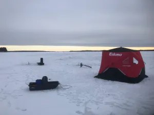 Ice fishing set up!! I love our tent!!
