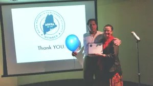 Al with Tiffany Schofield from Five Star with Al's blue balloon