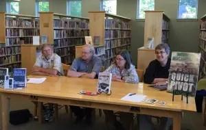 John Clark, Vaughn Hardacker, Maureen MIlliken and Brenda Buchanan talk mysteries, Maine and other stuff at the Thompson Library in Dover-Foxcroft July 14. (Diane Kenty picture)