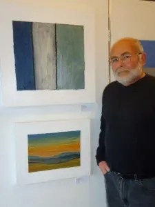 Bob & two of his paintings at gallery