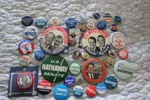 Some of many political souvenirs.