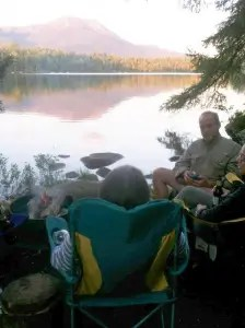 At Baxter State Park expect to do really boring things like hanging out around the campfire as the setting sun reflects off Mount Katahdin.