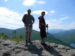 My brother Bill and nephew Tim on the North Traveler Trail in the north part of the park. You don't have to hike Katahdin to experience Baxter.