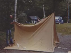 Dad sets up a tent at the South Branch Pond campground in 1976. We've revived the family tradition of vacationing there every summer the past several years.
