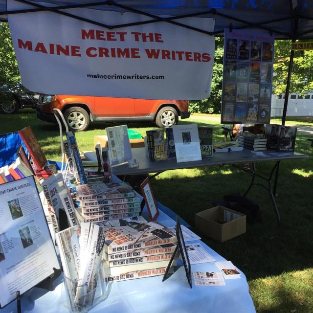 Dick Cass, Vaughn Hardacker and Kate Flora joined me in the Meet the Maine Crime Writers booth at the Belgrade 4th of July extravaganza.