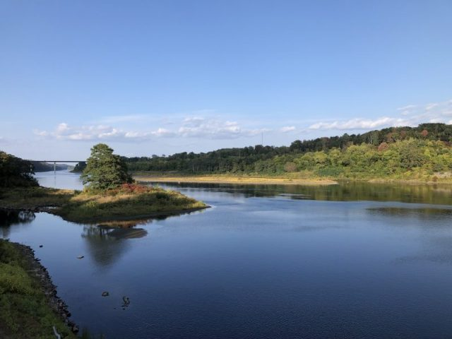 A wide expanse of river with foliage on the banks that's just beginning to turn color and a blue cloudless sky