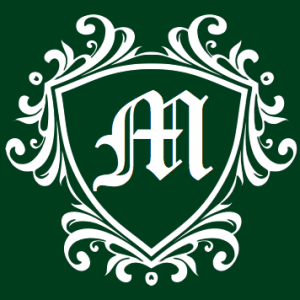 """A decorative logo featuring an """"M"""" in the middle"""