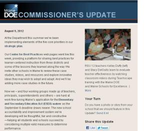 Commissioner's Update - August 9, 2012