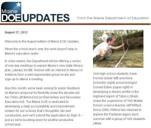 Maine DOE Updates - August 2012
