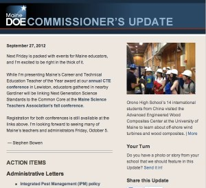 Commissioner's Update - September 27, 2012 - cover image