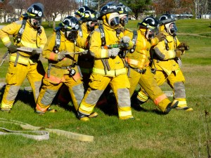 Eight Lisbon students prepare for the Firefighting I and II State Test.