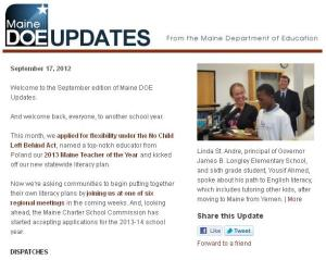 Maine DOE Updates – September 17, 2012