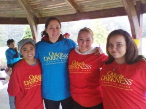 Jobs for Maine's Graduates students at the Out of the Darkness walk in Sanford.