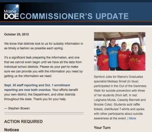 Commissioner's Update – October 25, 2012