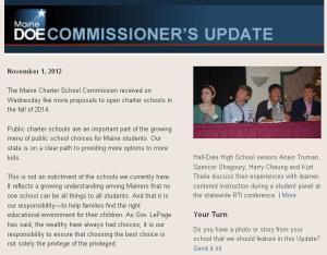 Commissioner's Update – November 1, 2012