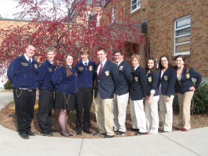 Maine FFA state officers (four on left) and FBLA state officers joined forces to provide leadership training to high school students at the Augusta Armory.