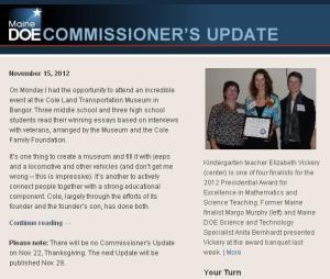 Commissioner's Update – November 15, 2012