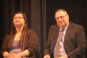 Governor Paul R. LePage and Michelle Zhang, Cony High School senior, offered welcome addresses at the first Governor's Conference on Education.