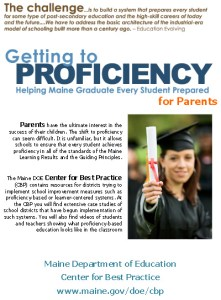 Screen shot of parents' brochure for profiency-based learning