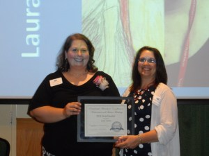 Math Finalist Laura Stevens (left) with Maine DOE's Michele Mailhot