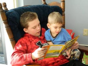 Cole reading to Frankie