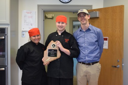 Yarmouth team with their winning plaque. Pictured left to right: Nikki Pilavakis-Davoren, Bobby Cole and Blair Currier, School Nutrition Director for Yarmouth Public Schools.