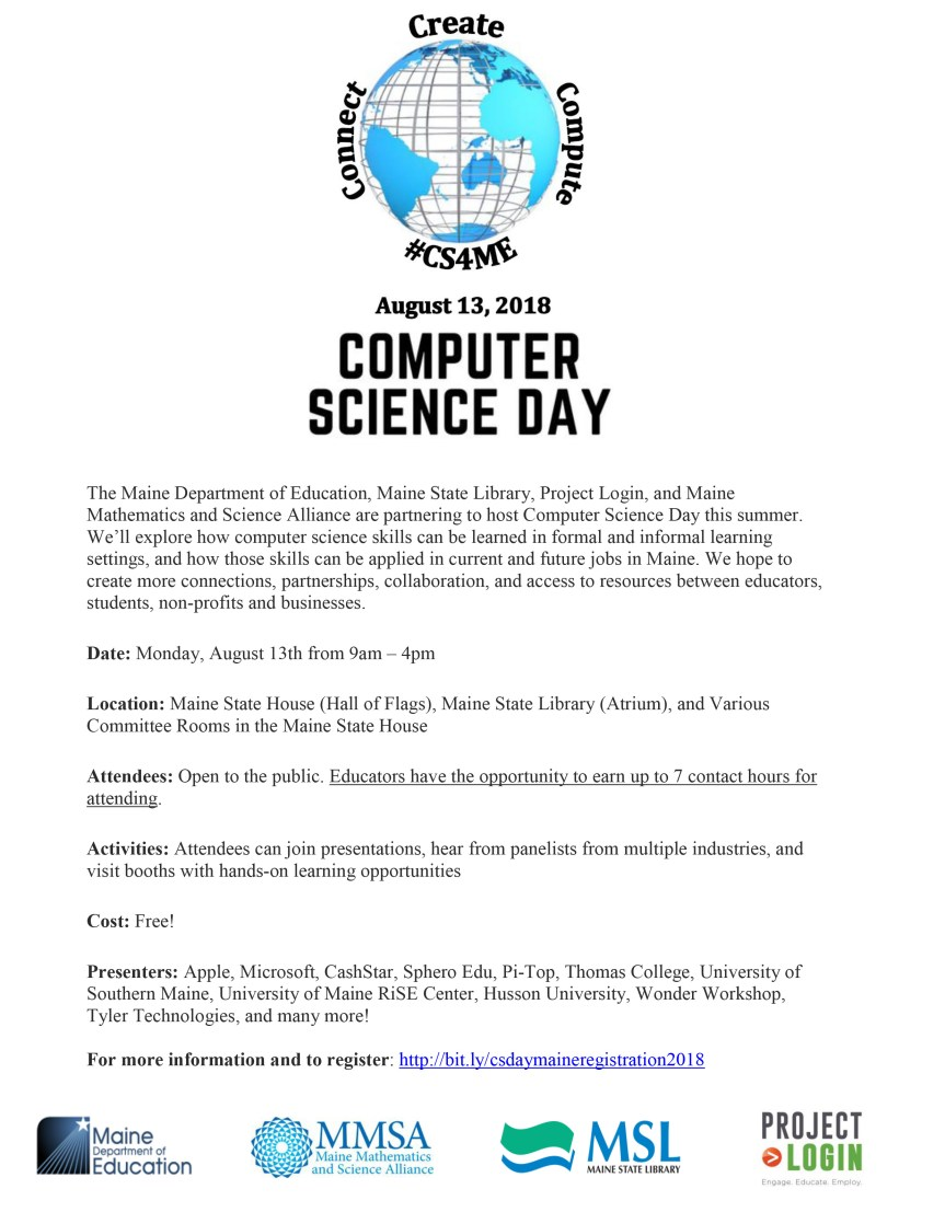 Register Now For Computer Science Day On August 13 Maine Doe Newsroom