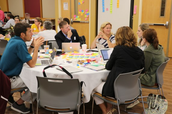 School leaders from Caribou working with Holly Couturier, Executive Director of Maine Principals Association.