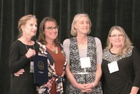 Gail Senese, Maine DOE Director of Adult Education, Lisa MacDonald Cooper, MDF Program Director, Education & Workforce, Shirley Wright, Executive Director of MAEA, and Suzanne Nowinski, President of MAEA.