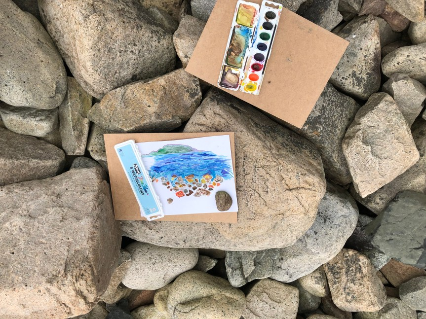 paintings on the rocks at the beach