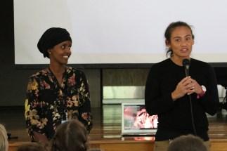 Hawo Abdille, Lewiston Public Schools English Language Learner (ELL) Intake Coordinator and Dani Finn, Principal of Carrie Ricker Elementary School