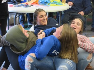 Human Table (left to right): Sara Stitham, Central Aroostook High School, Kassidy Blackstone, Central Aroostook Junior High School, Haleigh Holmes, Ashland High School, Macey Coffin, Central Aroostook High School
