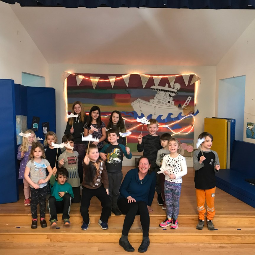 Marci Train with students