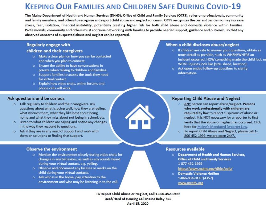 PRIORITY NOTICE: Spotting Signs of Child Abuse and Neglect During the COVID-19 Emergency: An Updated Guide for Educational Professionals and Others who Care for Maine Children