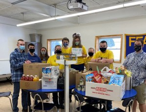 Washburn FFA students with donated food collection